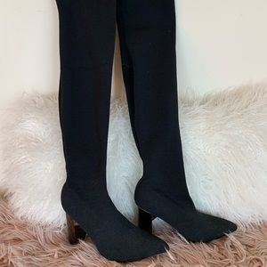 Zara over the knee elastic knit boots